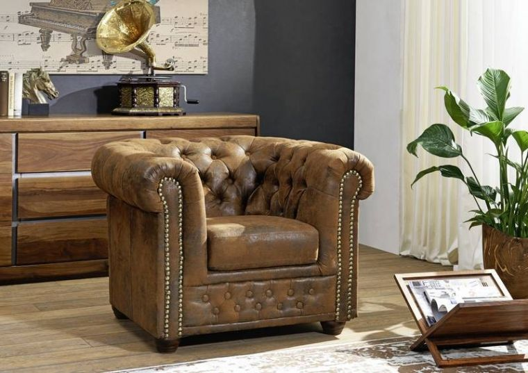 Fauteuil Chesterfield - Style colonial antique (Marron) - OXFORD